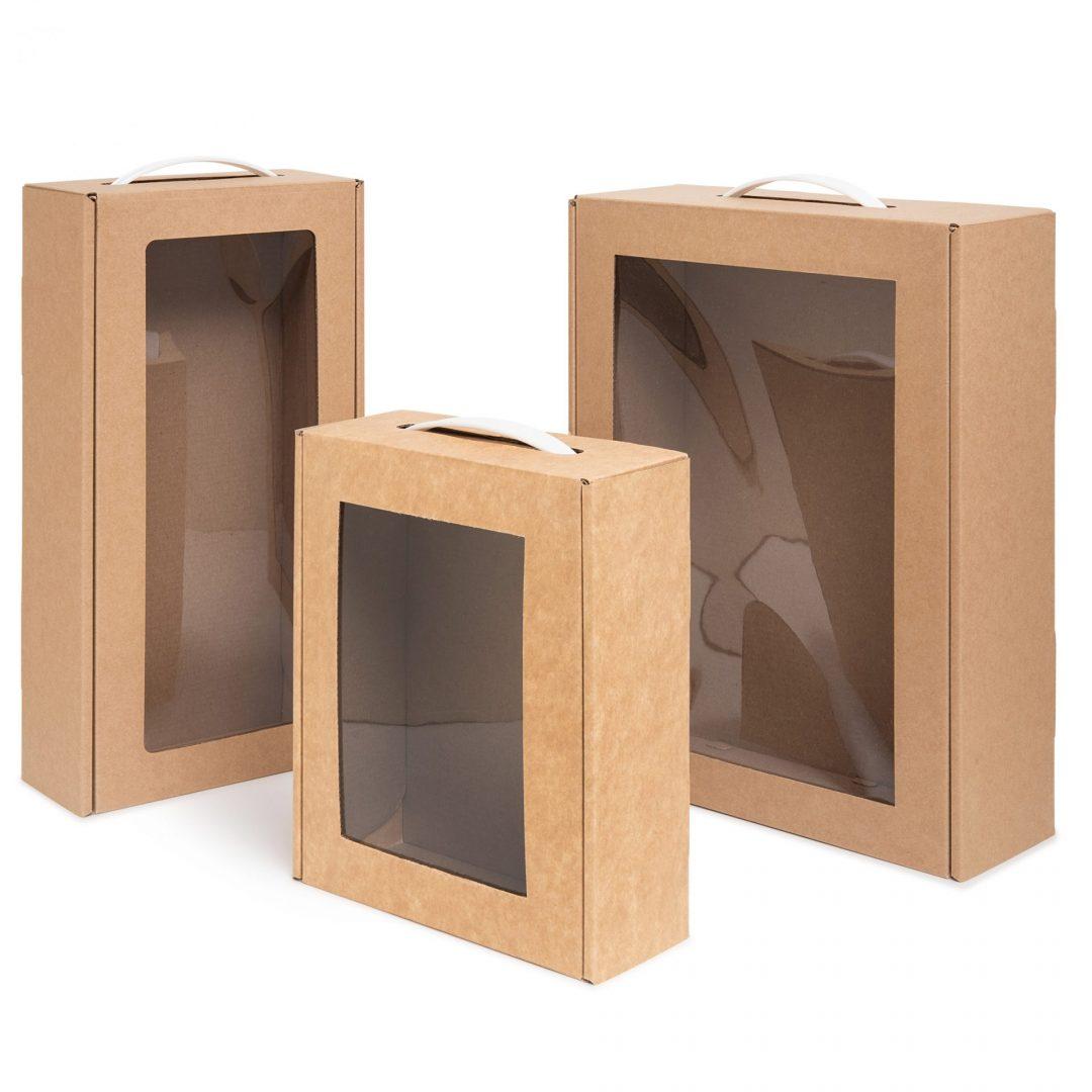 מזוודות שי עם חלון בגדלים שונים + ידית פלסטיק